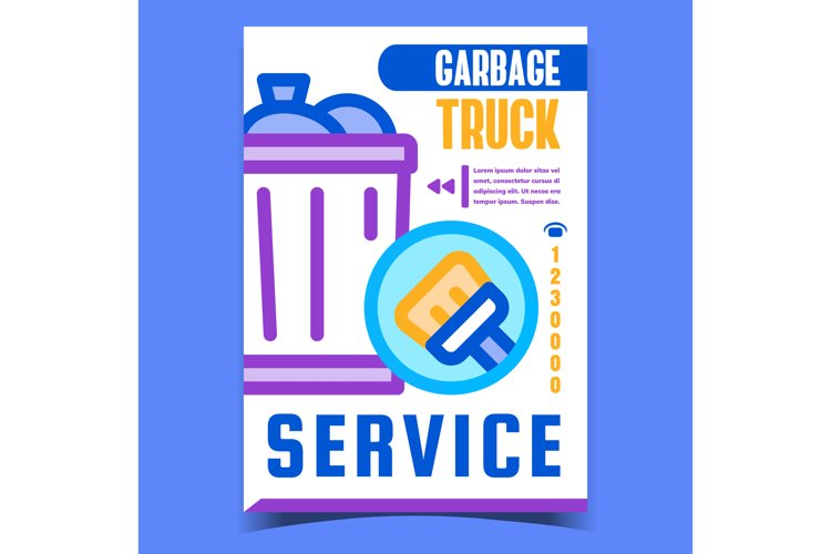 Garbage Truck Service Advertising Banner Vector example image 1