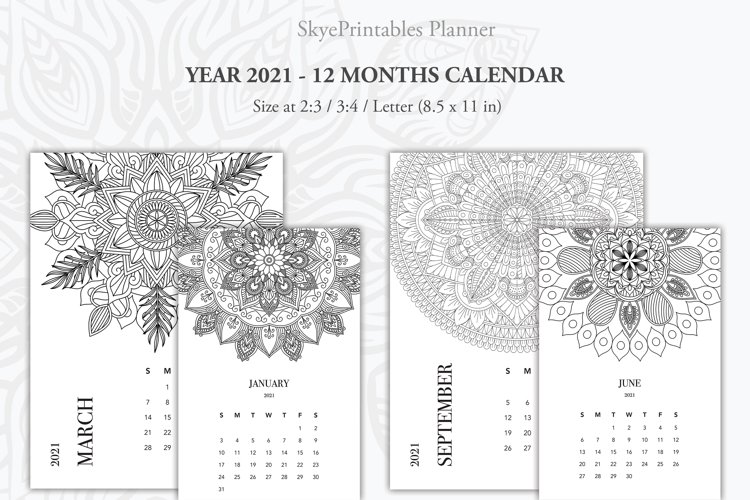 Printable Monthly Calendar 2021 with Mandala Coloring Art