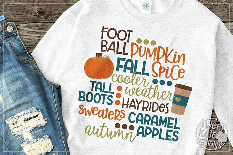 Fall Words SVG DXF EPS PNG JPG example image 1