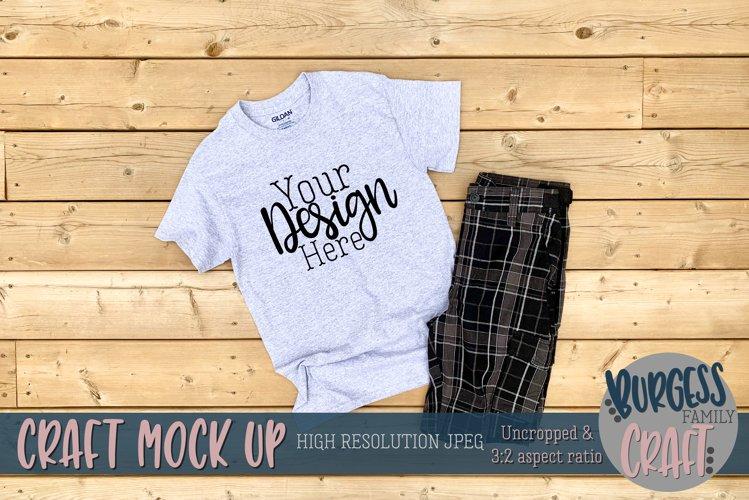 Mens grey Gildan tshirt |Craft mock up example image 1