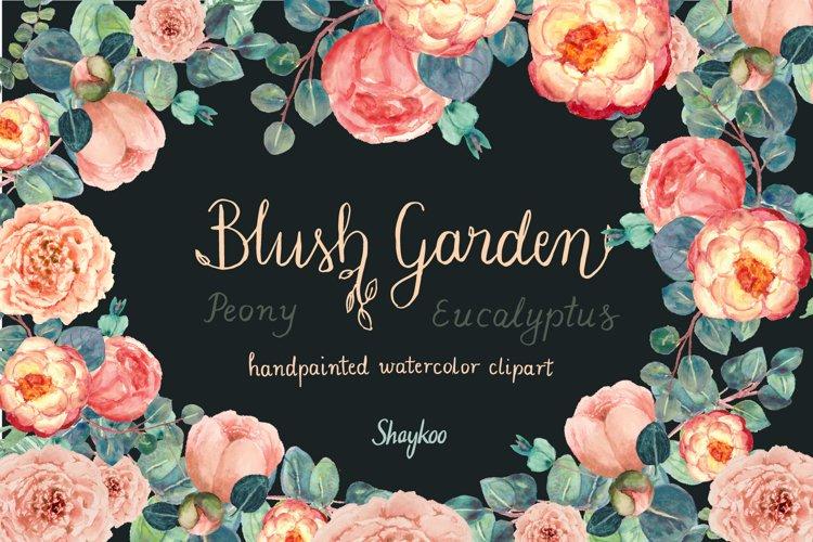 Blush Peony and Eucalyptus Watercolor Clipart Wedding Invite