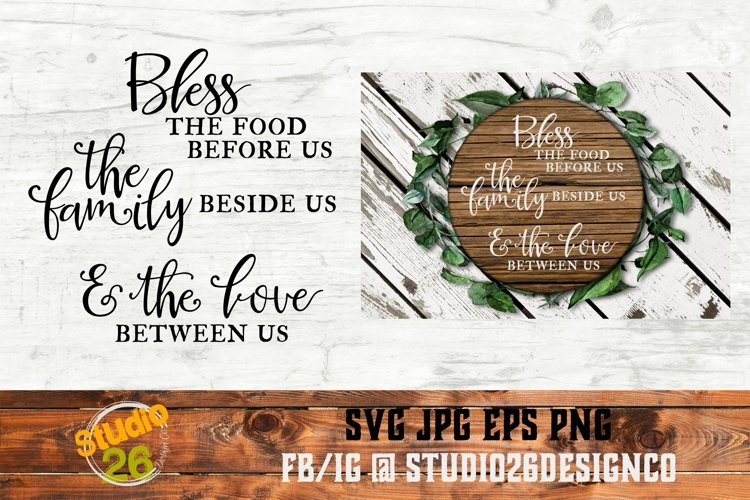 Bless the Food, Family & Love - SVG PNG EPS example image 1