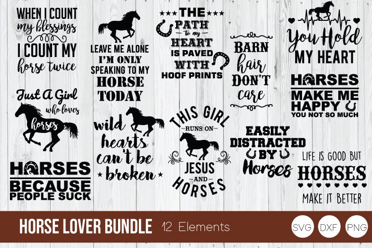 Horse Lover Bundle SVG, Horse SVG DXF, PNG Cut Files