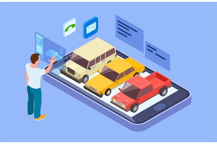 Rent car online. Isometric buy car with online phone app. Ma example image 1