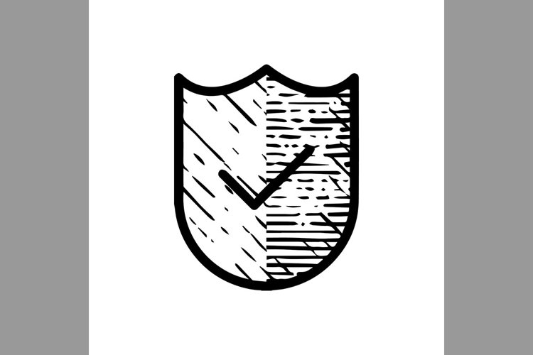 hand drawn check mark and shield, verified symbol line icon, example image 1