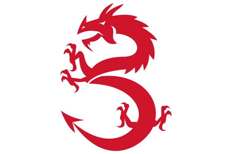 Red Dragon Prancing Silhouette Retro example image 1
