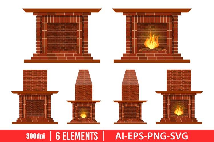 Vintage brick fireplace clipart vector design illustration