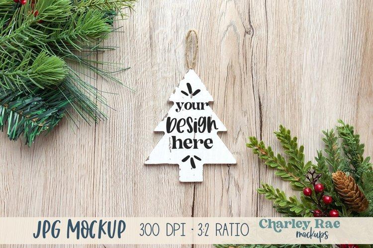 Tree Ornament Mockup on Tree, Whitewashed Mock Up