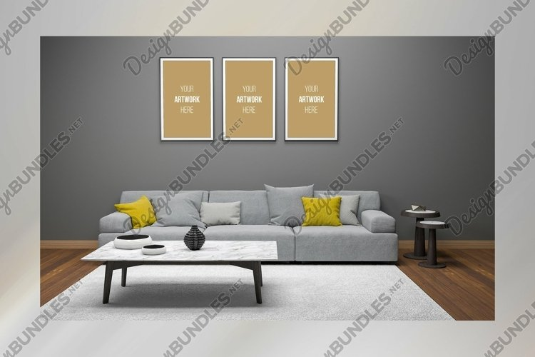 3D Interior Living Room Frame Mockup example image 1