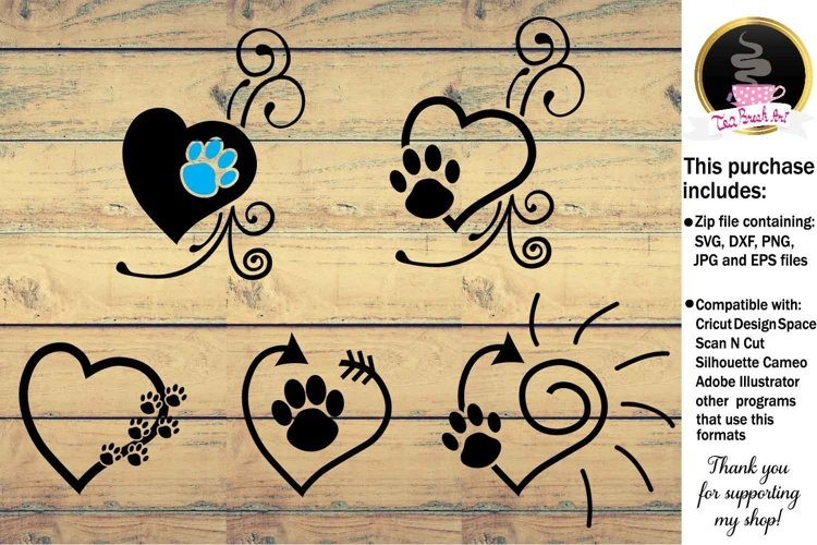 Vet Care Heart with Paw Monogram Digital Cutting files 936