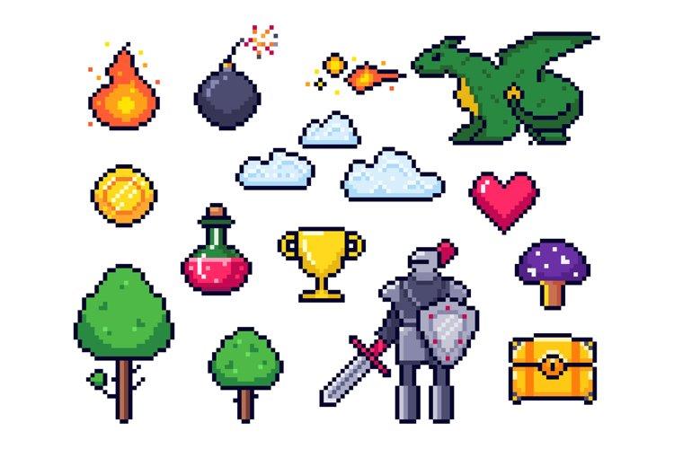 Pixel game elements. Pixelated warrior and 8 bit pixels drag example image 1