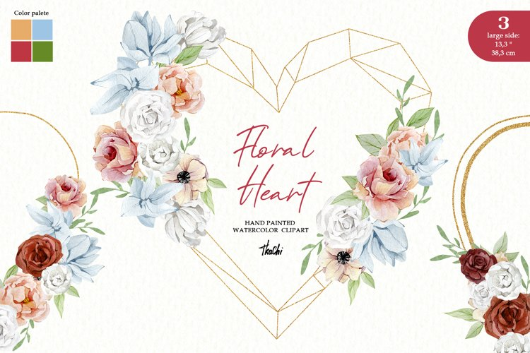 Watercolor Heart Valentine Wreath Floral Boho Frame clipart example image 1