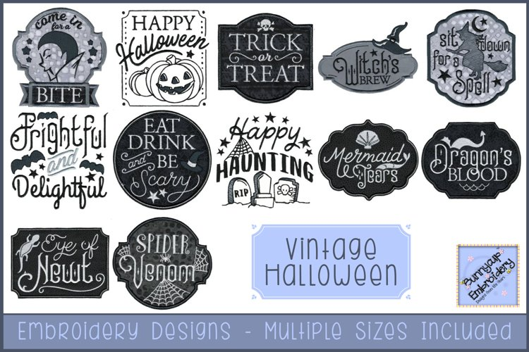 Vintage Halloween Embroidery Designs