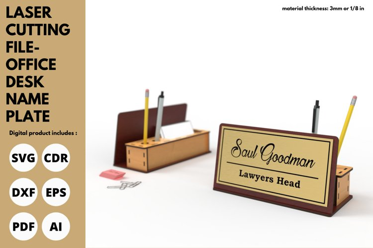 Office Desk Name Plate & Desk Set - SVG - Laser cutting File