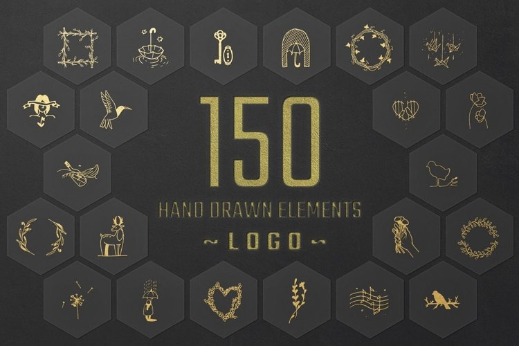 150 Hand Drawn Elements -Logo- example image 1