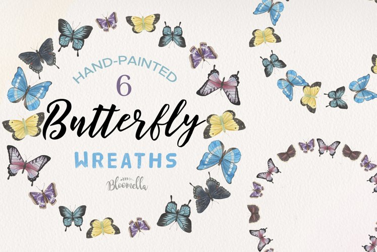 Butterfly 6 Wreath Watercolor Garlands Butterflies Spring example image 1