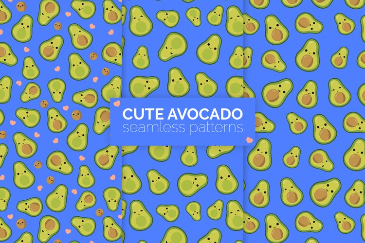 Cute Avocado Seamless Patterns example image 1