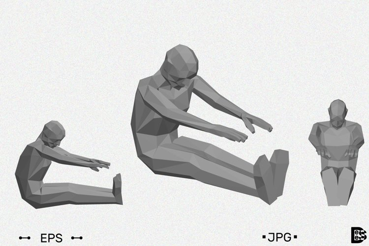 Low poly man doing tilt forward seated. Vector illustration example image 1