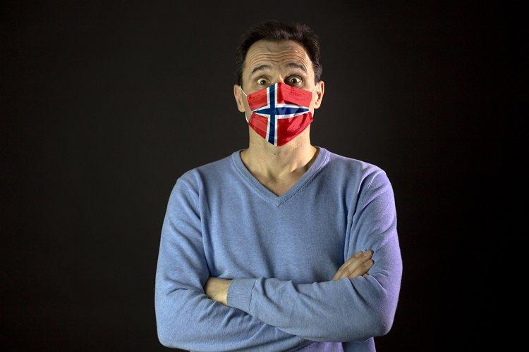 Man in medical mask. Isolated. Coronavirus in Europe example image 1