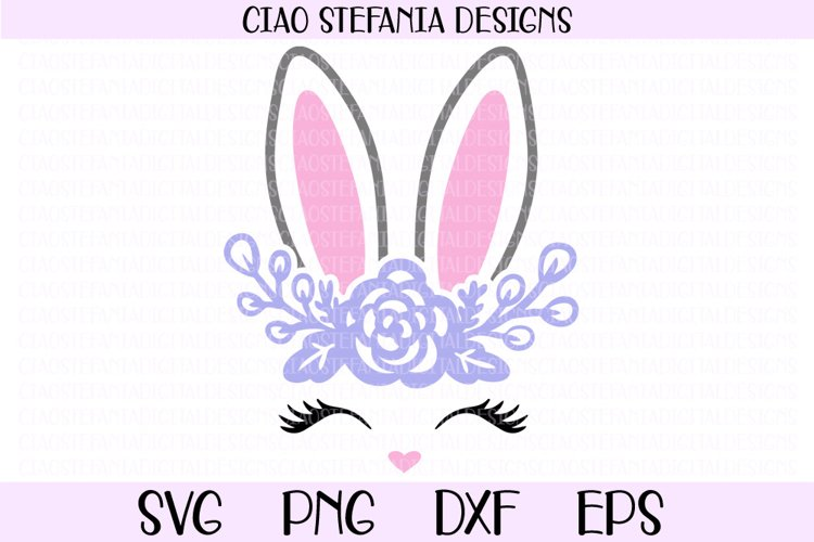 Bunny Face And Ears With Flowers SVG Cut File example image 1
