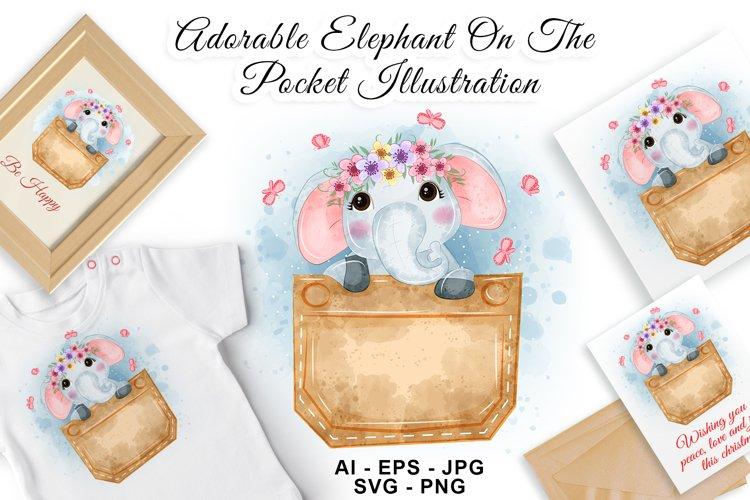 Adorable Elephant FlowerCrown Pocket Watercolor Illustration example image 1