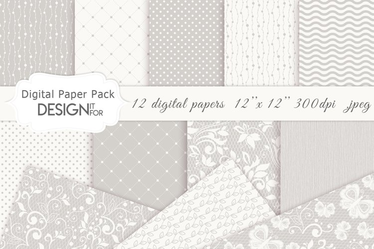 Wedding Digital Paper Pack, Wedding Patterns, Lace Papers example image 1