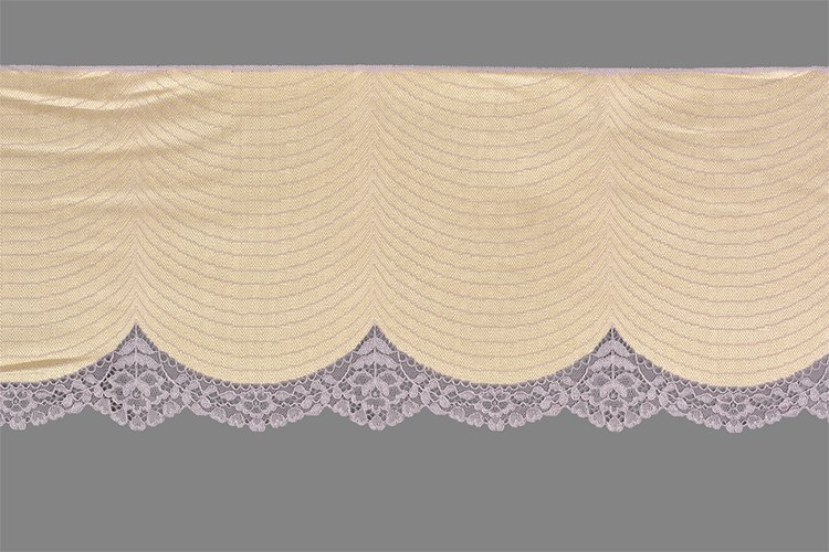 Beige lilac straight strip of lace fabric. Texture for websi example image 1