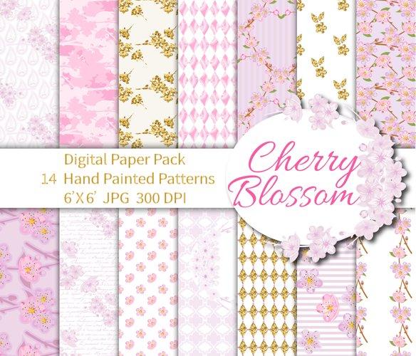 Cherry Blossom Digital Paper example image 1
