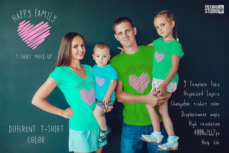 Happy Family T-Shirt Mock-Up