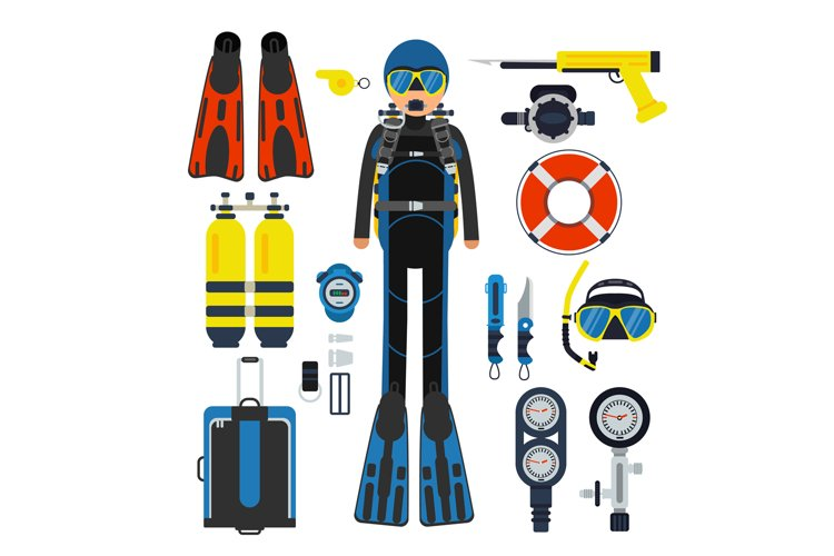 Equipment for underwater sport. Gas, scuba wetsuit and flipp example image 1
