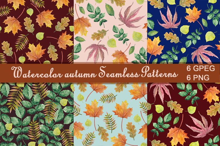 Watercolor autumn seamless patterns example image 1