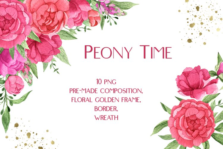Watercolor Pink Peonies Frames Bouquets Floral Clipart example image 1