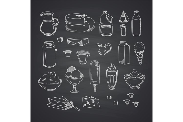 Vector milk or dairy products set hand drawn example image 1