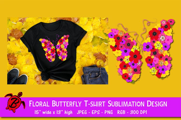 Floral Butterfly T-shirt Sublimation Design example image 1