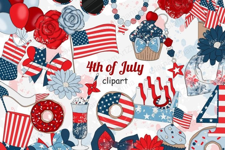 4th of July CLIPART Independence Day USA American Girl - PNG example image 1