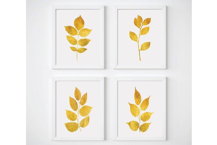 Yellow Wall Art, Gold Wall Decor, Leaf Wall Art, Gold Print example image 1