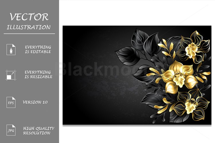 Black Background with Black Orchid example image 1