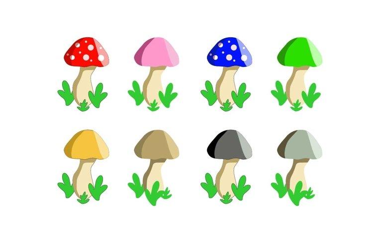 set of colorful mushroom