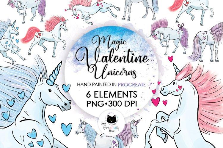 Valentine Unicorn PNG Sublimation Bundle   Magic Unicorn Set example image 1