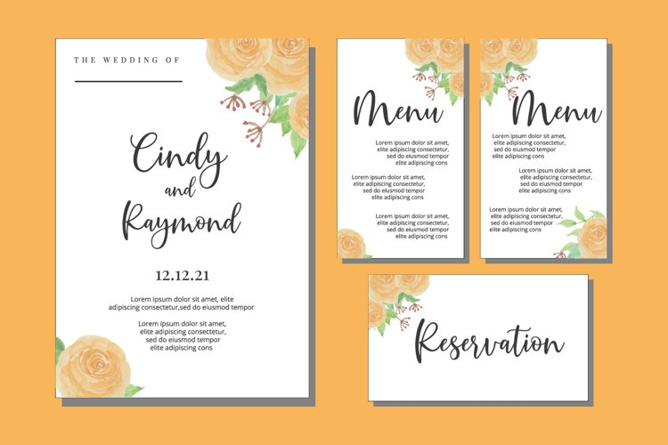 Floral Watercolor Wedding Invitations Set Card SVG, EPS, PNG example image 1