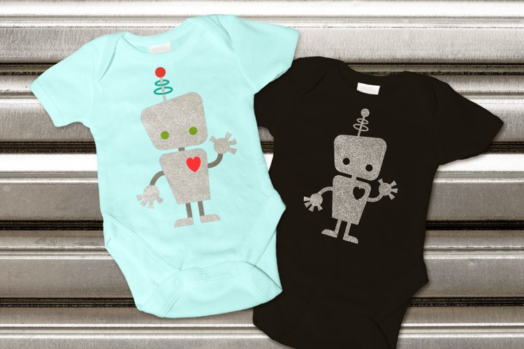 Cute Kid Robot SVG File Cutting Template example image 1