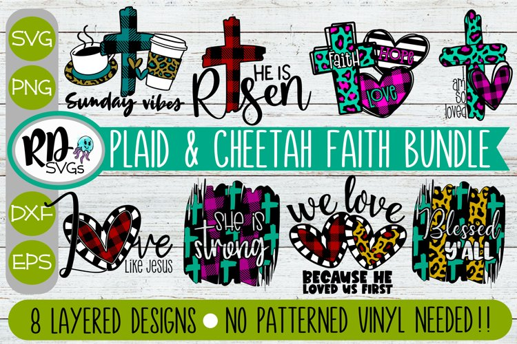 Religious Faith Plaid and Cheetah Bundle - Set of Cricut SVG