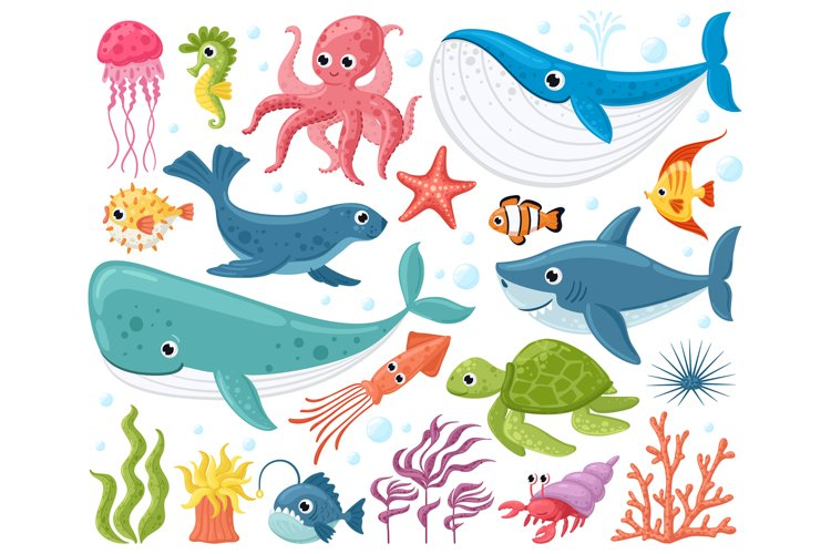Cartoon sea animals. Cute ocean fish, octopus, shark and tur example image 1