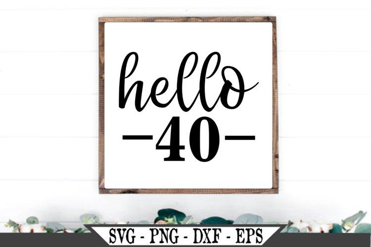 Hello 40 Birthday SVG example image 1