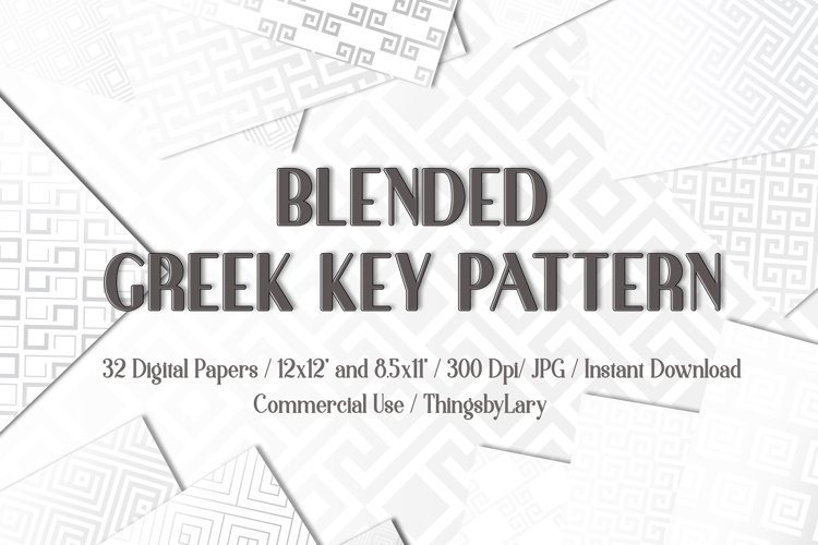 32 Gray Blended Greek Key Pattern Digital Papers