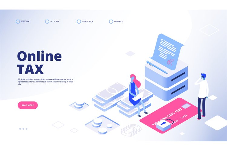 Tax payment landing page. Online tax vector web banner templ example image 1