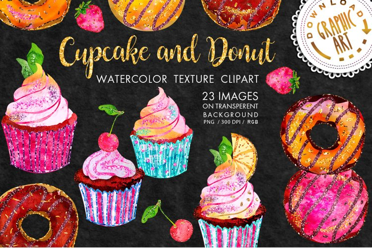 Cupcake and Donut Clip Art example image 1