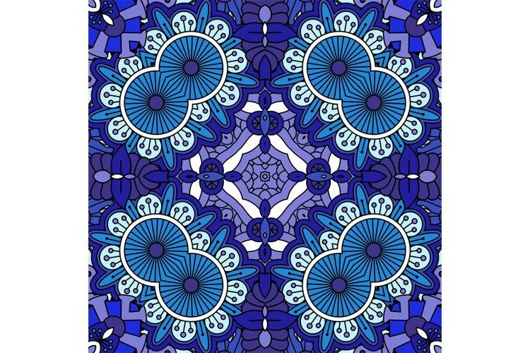 Intricate blue geometric circular pattern example image 1
