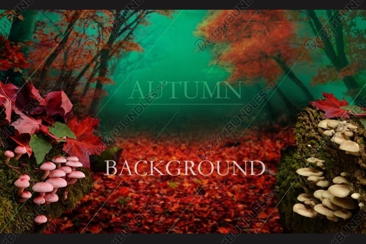 Autumn forest digital background. Red fall landscape