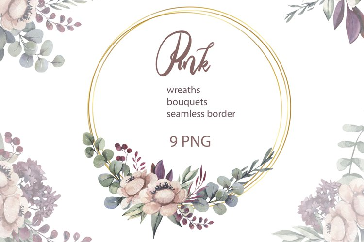 Pink Flower Wreath Clipart PNG